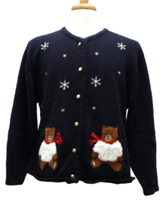 1980's Womens Bear-Tastic Ugly Christmas Sweater
