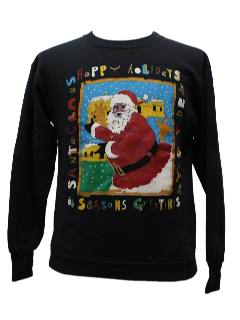 1980's Unisex Ugly Christmas Black Santa Sweatshirt