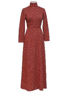 1970's Womens Mod Maxi Knit Dress