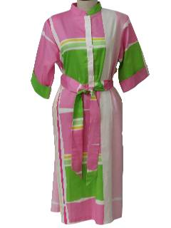 1980's Womens Designer Totally 80s Mod Op-Art Dress