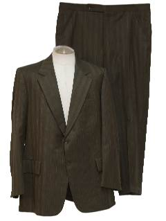 1970's Mens Mod Pinstriped Wool Suit