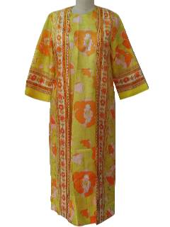 1960's Womens Hawaiian Style Hippie Maxi Dress