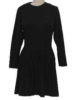 1970's Womens Knit Little Black Mini Dress