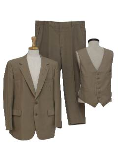 1980's Mens Disco Syle Three Piece Blended Wool Suit