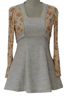 1970's Womens Mod Mini Knit Dress