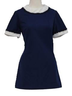 1970's Womens Mod Micro Mini Knit Dress