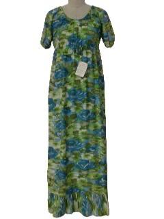 1970's Womens Hippie Style Maxi Dress