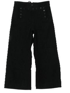 1970's Mens Navy Wool Bellbottom Pants