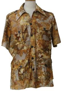 1970's Mens Photo Print Safari Style Disco Shirt