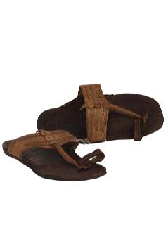 1970's Unisex Accessories - Unisex Leather Hippie Jesus Sandal Shoes