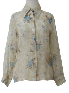 1970's Womens Sheer Print Disco Style Shirt