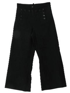 1970's Mens Wool Gabardine Navy Bellbottom Pants