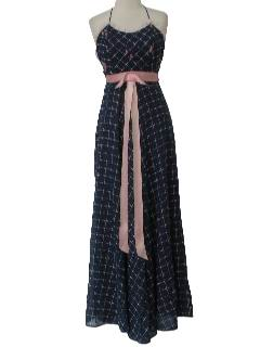 1970's Womens Halter Maxi Dress