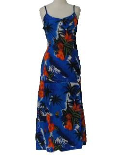 1990's Womens Hawaiian Maxi Dress