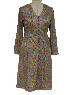 1970's Womens Mod Knit Designer Dress