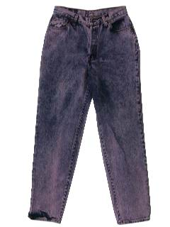 1980's Womens Totally 80s Overdyed Acid Washed Levis Jeans Pants