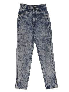 1980's Womens Totally 80s Designer Acid Washed Denim Jeans Pants