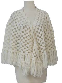 1970's Womens Crocheted Shawl Sweater