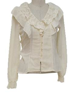 1980's Womens Frilly Hippie Shirt