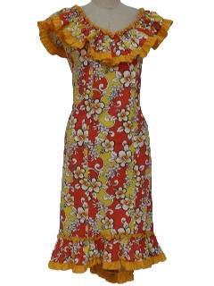 1970's Womens or Girls Hawaiian Maxi Dress