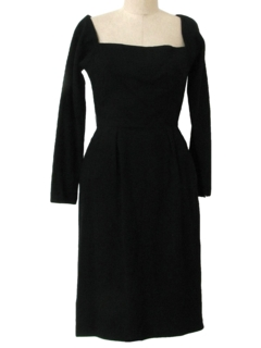 1950's Womens Wool New Look Cocktail Little Black Wiggle Dress