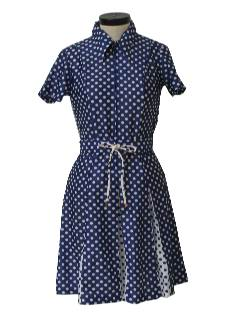 1970's Womens Mod Polka Dot Dress