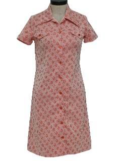 1970's Womens Mod Knit Western Style Dress