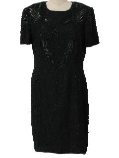 1990's Womens Beaded Cocktail Maxi Dress