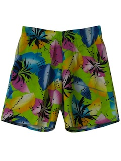 1980's Unisex Totally 80s Hawaiian Board Shorts