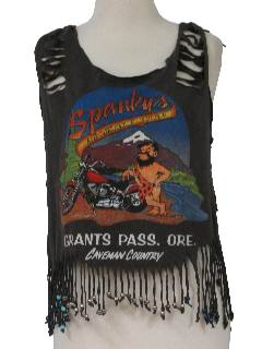 1980's Womens Totally 80s Style Sliced Beaded White Trash Tank Top