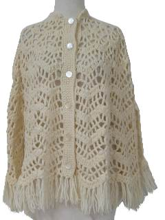 1970's Womens Poncho Shawl Sweater