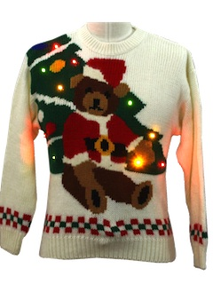 1980's Unisex Bear-Tastic Lightup Ugly Christmas Sweater