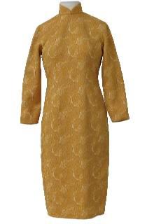 1970's Womens Mod Knit Cheongsam Style Dress