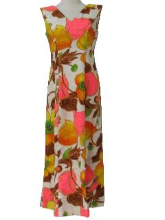 1960's Womens Mod Hawaiian Maxi Dress
