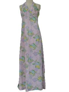 1960's Womens/Girls Halter Sun  Maxi Dress