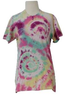 1970's Womens Hippie Tie Dye T-Shirt