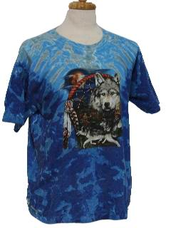 1990's Unisex Wicked 90s Tie Dye Wolf and Native American Print T-Shirt