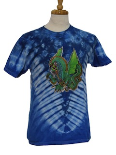 1990's Mens Wicked 90s Tie Dye Dragon Animal Print  T-shirt