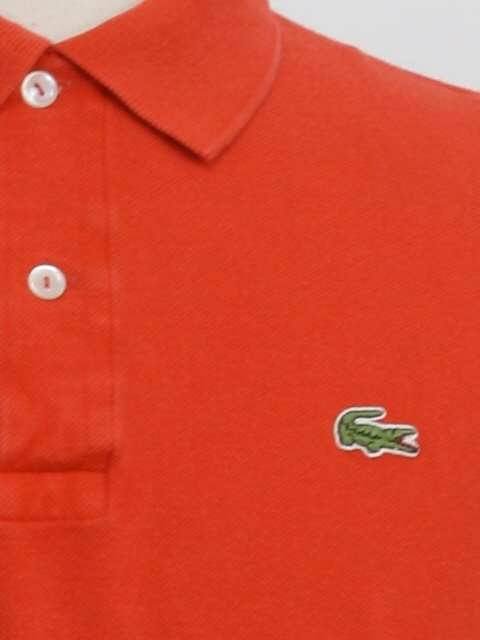 a601a467 Retro 1980's Shirt (Chemise Lacoste Made in France) : 80s -Chemise Lacoste  Made in France- Mens bright red woven cotton short sleeve polo shirt.