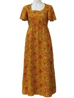 1970's Womens Hawaiian Inspired Hippie Maxi Dress