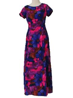 1970's Womens/Girls Hawaiian Maxi Dress