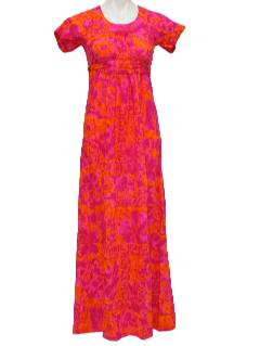 1960's Womens/Girls Mod Hawaiian Maxi Dress