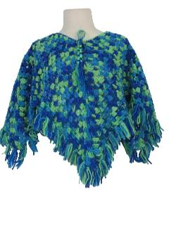 1970's Womens Crocheted Hippie Poncho