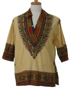 1960's Mens Dashiki Style Hippie Shirt