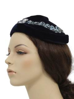 1960's Womens Accessories -Velvet Hat