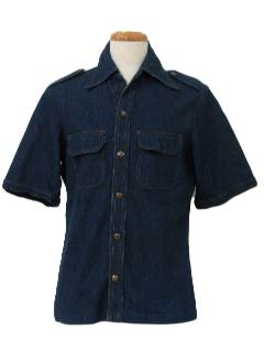 1970's Mens Denim Safari Shirt