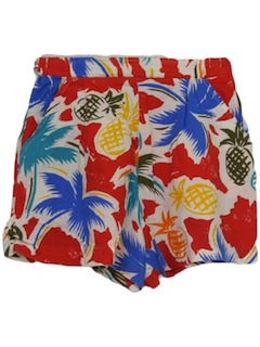 1980's Womens Totally 80s Hawaiian Style Shorts