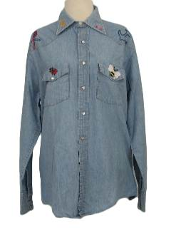 1970's Womens Hippie Western Style Shirt
