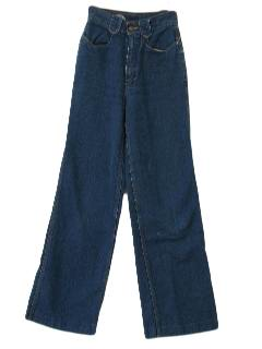 1970's Womens Wide Leg Flared Jeans Pants