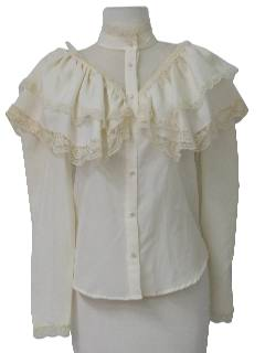 1980's Womens Frilly Ruffle Shirt
